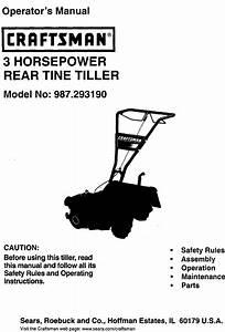 Craftsman 987293190 User Manual 3 Horsepower Rear Tine