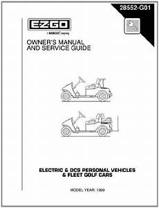 Ezgo 28552g01 1999 Owners Guide For Txt Electric Gasoline