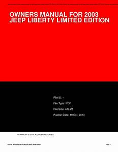 Owners Manual For 2003 Jeep Liberty Limited Edition