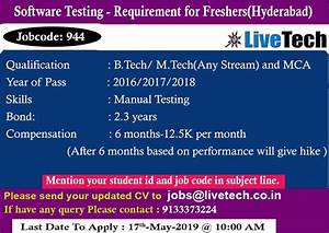 Software Testing Requirement For Freshers  Job Code  944