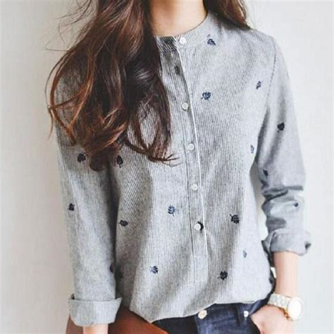 up blouse pics leaf embroidered button up blouse fray