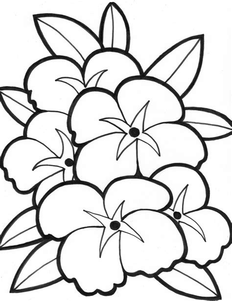 Simple Flower Coloring Pages Coloring flowers