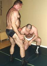 Hairy strong women wrestle men