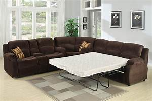 Tracey recliner sleeper sectional sofa for Sectional sofa with recliner and queen sleeper
