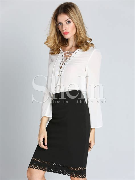 up blouse pics white sleeve lace up blouse shein sheinside