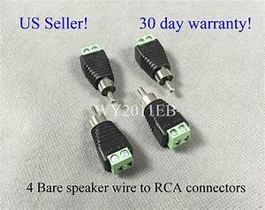 4 Bare Speaker Wire  Cable To Rca Connectors  Plugs Fit Bose Acoustimass 6 10 15